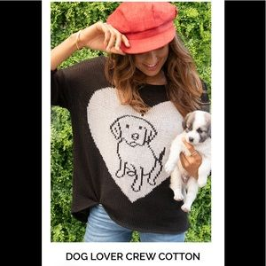 Wooden Ships Dog Lover Crew Knit Sweater size S